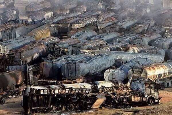 cisterne distrutte in un attacco russo