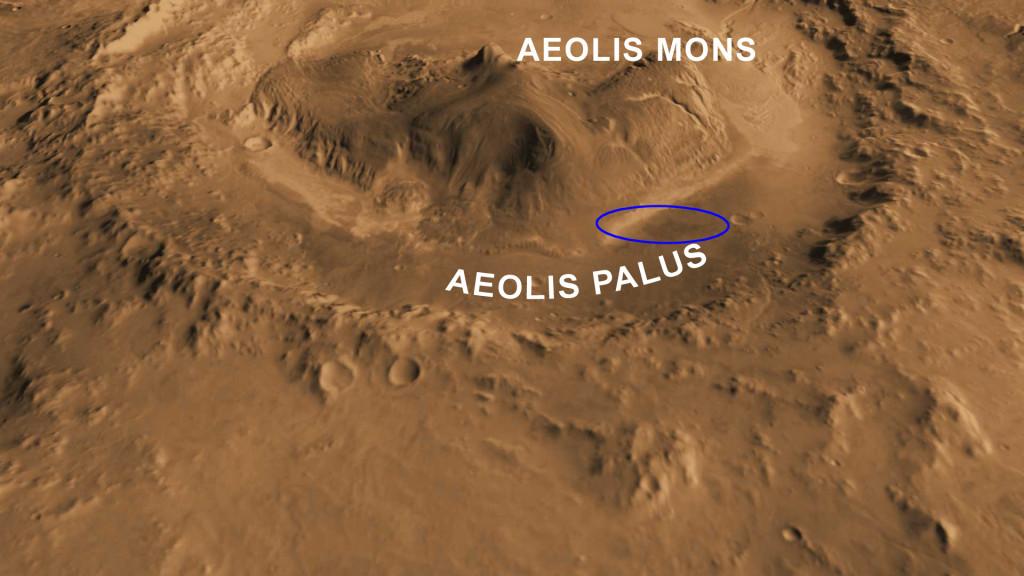 il cratere Gale e la zona di ammartaggio del rover opportunity
