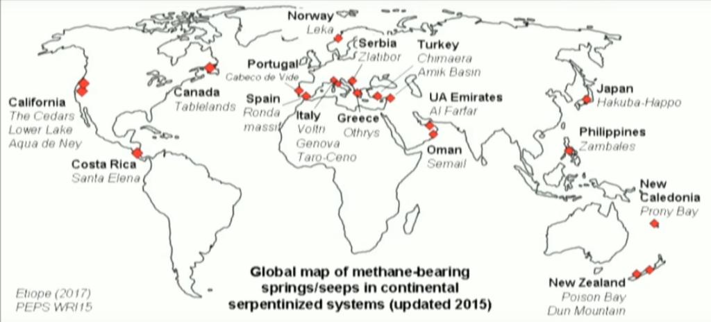 sorgenti metanifere note da serpentiniti continentali https://www.youtube.com/watch?v=UwJxDUZ_TEQ&feature=youtu.be